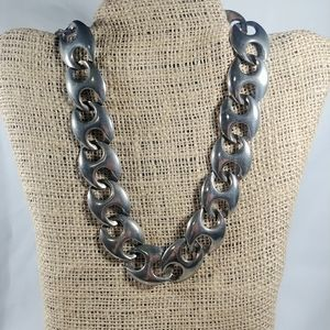 Jewelry - Silvertone Large and Chunky Linked Necklace